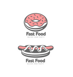 Donut with glaze icing hot dog isolated vector