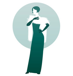 elegant lady silhouette wearing long evening vector image