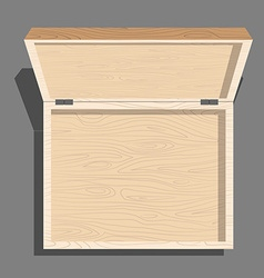 Empty open wooden box top view Case isolated from vector