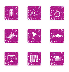 Evidence icons set grunge style vector