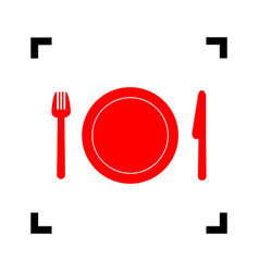 fork plate and knife red icon inside vector image