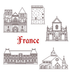 france architecture line icons in brittany vector image