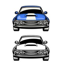 Front side view muscle car vector