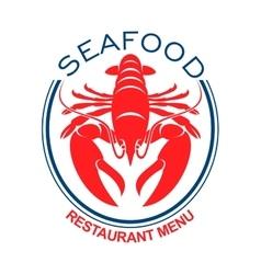 Giant red lobster icon in blue oval frame vector image