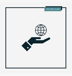 globe on hand icon simple vector image