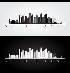 gold coast skyline and landmarks silhouette vector image