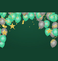 Green and gray balloons confetti and ribbons vector