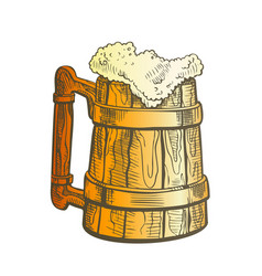 Hand drawn vintage color cup with froth beer vector