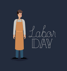 Happy labor day card with butcher vector