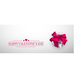 happy valentines day realistic gift box with pink vector image