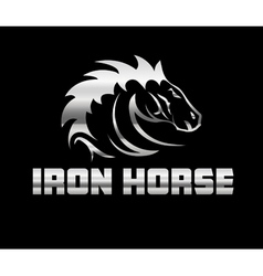 head of agreesive iron horse vector image