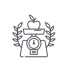 healthy food line icon concept healthy food vector image