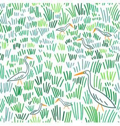 heron at wetland seamless pattern vector image