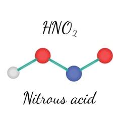 HNO2 nitrous acid molecule vector image