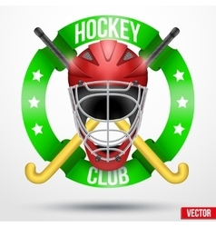 Hockey field sticks and helmet with ribbons vector