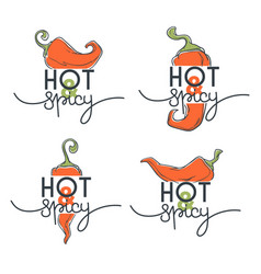 hot and spicy chili pepper sketchind logo icons vector image