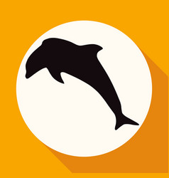 Icon dolphin on white circle with a long shadow vector