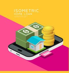 isometric home and money on mobile phone vector image