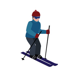 Isometric isolated man skiing cross country vector