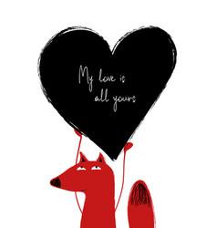 love card with cute fox vector image