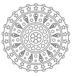 mandala coloring page black and white vector image