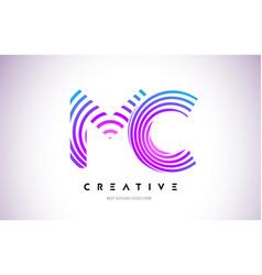 mc lines warp logo design letter icon made vector image