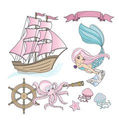 Mermaid ship sea travel color vector