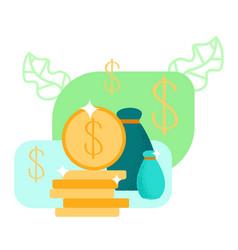 money piles coins cartoon vector image