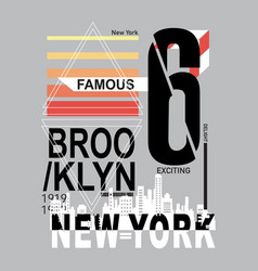 new york brooklyn typography t shirt vector image