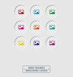 nine circular frames brochure cover vector image
