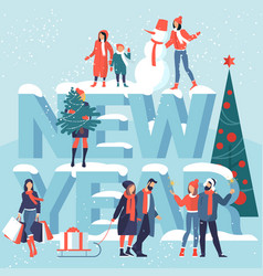 People are preparing for christmas vector