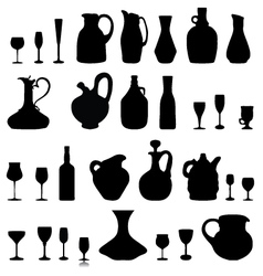 Pitchers glasses and bottles vector