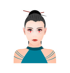 Portrait a japanese ninja shinobi girl vector