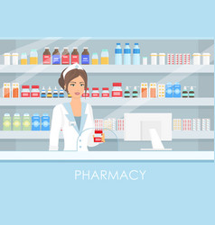 Pretty female pharmacist in vector