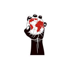 Raised arm holds earth globe authority as the vector