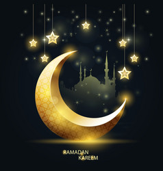 ramadan kareem - islamic crescent and mosque vector image