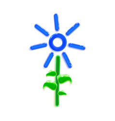 Realistic three-dimensional plastic blue flower vector