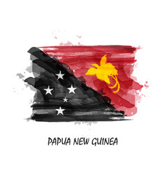 realistic watercolor painting flag of papua new vector image