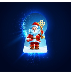 Santa Claus with a golden key in the keyhole vector