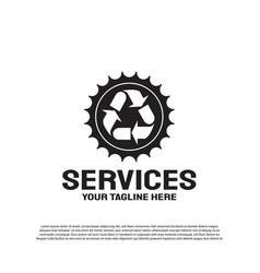 Services logo design with gears and arrows vector