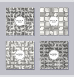 set 4 simple abstract frames and seamless vector image