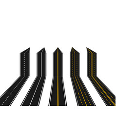 set of roads with white and yellow marking in vector image