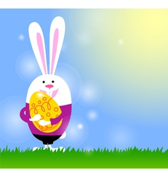 Spring background with bunny and Easter egg vector image
