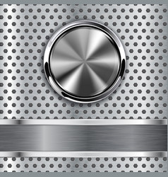 Steel round button on metal background web icon vector