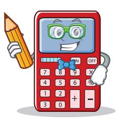 Student cute calculator character cartoon vector