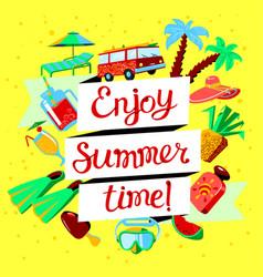 Summer beach cartoon banner with enjoy summer vector