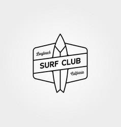 surf club line icon logo symbol minimal design vector image
