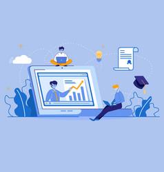 Teacher conduct training online for men students vector