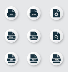 Types icons set with folio multimedia audio and vector