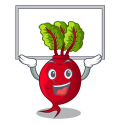 Up board cartoon fresh harvested beetroots in vector